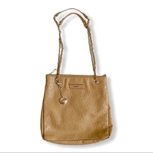 DKNY / tan gold chain shoulder leather purse